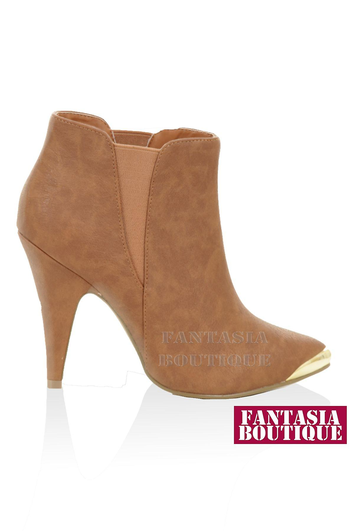 Ladies High Heel Pointed Gold Toe Pull On Suede Matt Chelsea Women's Ankle Boots