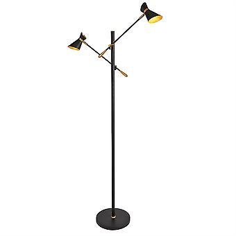 Diablo Matt Black e due oro luce LED lampada da terra-Searchlight 5962-2BG