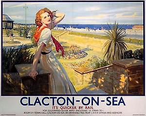 Clacton On Sea Lady (old rail ad.) fridge magnet