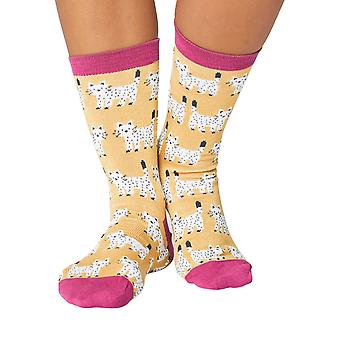 White Cat women's soft bamboo crew socks in yellow | By Thought
