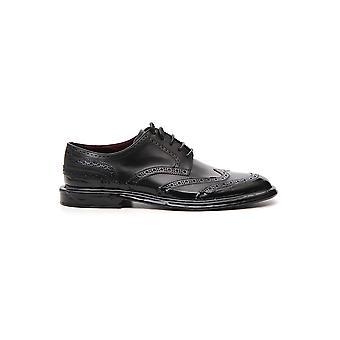 Dolce E Gabbana Black Leather Lace-up Shoes