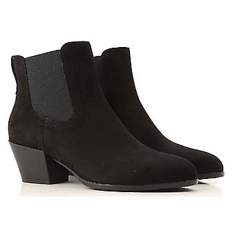 أحذية الكاحل الكعب هوجان المرأة أحذية بجلد الغزال الأسود