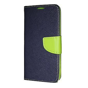 Samsung Galaxy A9 2018 wallet pouch Fancy Case + hand strap dark blue