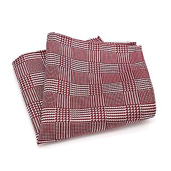 Men's red & white tartan stripe grooms pocket square