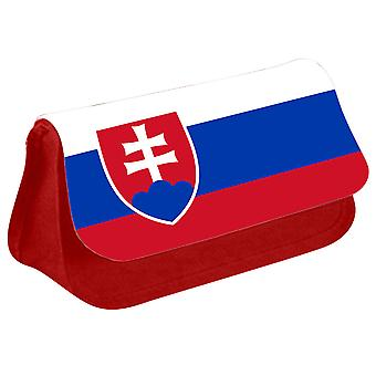 Slovakia Flag Printed Design Pencil Case for Stationary/Cosmetic - 0158 (Red) by i-Tronixs
