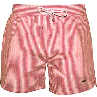 Boss Striped Seersucker Swim Shorts, Pink