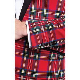 Dobell Mens Royal Stewart Tartan Tuxedo Jacket Slim Fit Contrast Peak Lapel