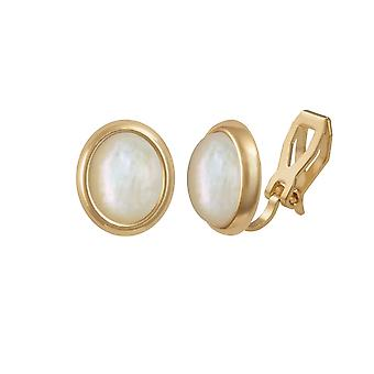 Eternal Collection Minuet Mother Of Pearl Gold Tone Stud Clip On Earrings