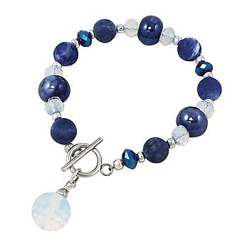 Eternal Collection Harmony Deep Blue Sodalite And Ink Blue Ceramic Beaded Bracelet