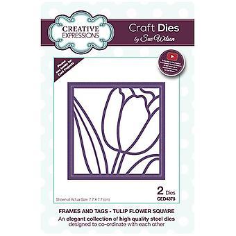 Sue Wilson Die Set Tulip Flower Square Set of 2 | Frames and Tags Collection