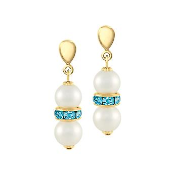 Eternal Collection Kaleidoscope Aquamarine Crystal Shell Pearl Gold Tone Drop Pierced Earrings