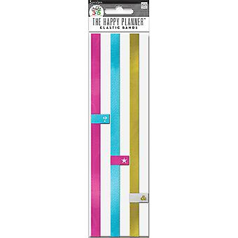Create 365 Happy Planner Elastic Bands 3/Pkg-Pink, Gold, Teal EB02