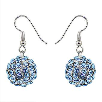 Aquamarine Crystal Mesh Ball Earrings EMB115.1