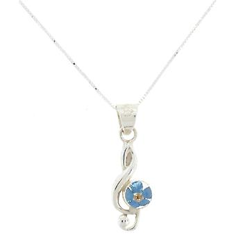 Shrieking Violet Sterling Silver Real Forget Me Not Flowers Treble Clef Pendant