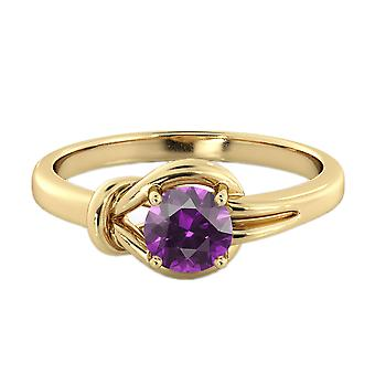 Amethyst 0.50 CT Ring 14K Yellow Gold Knot  4 prongs Round
