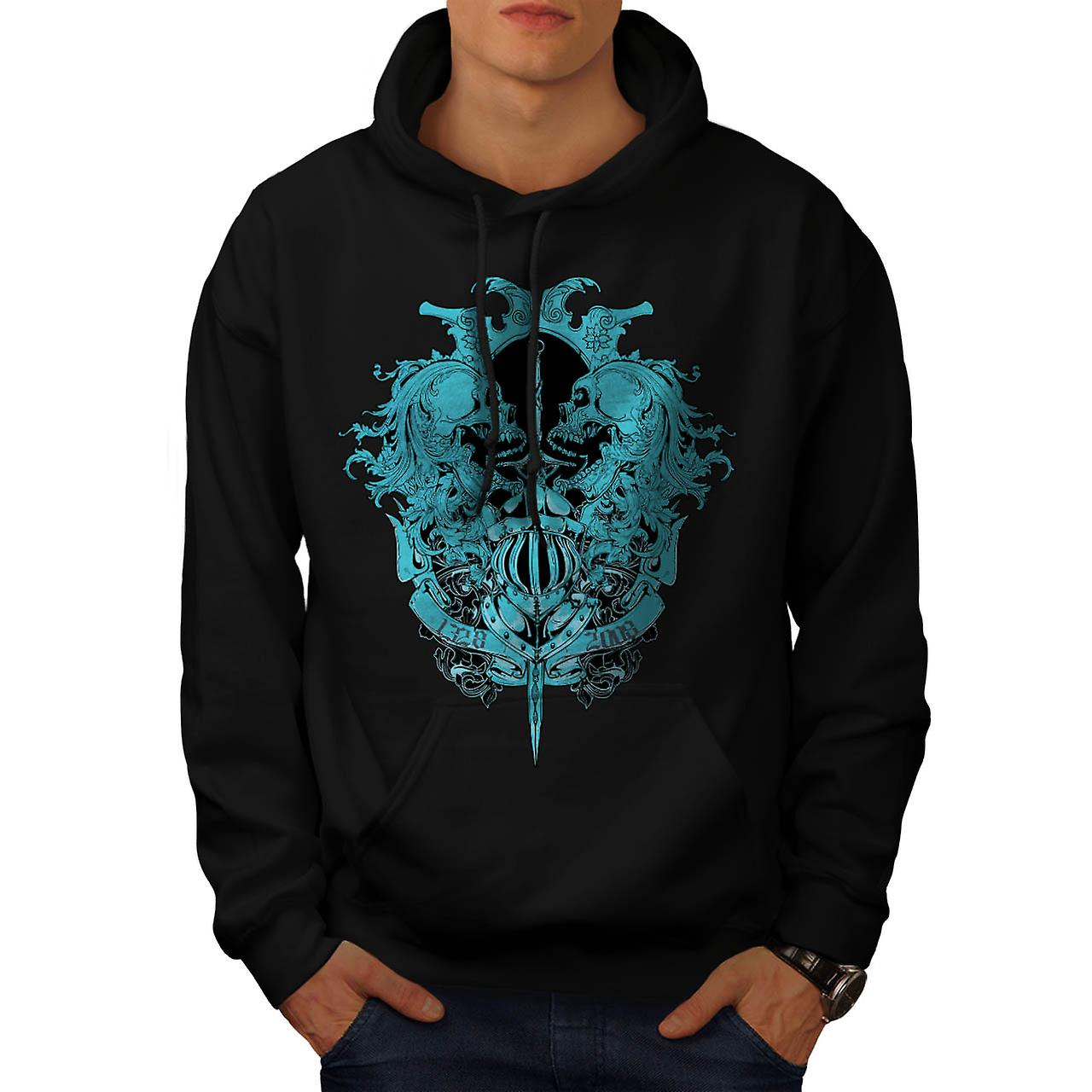 Skeleton Battle Sword Fear Fight Men Black Hoodie | Wellcoda