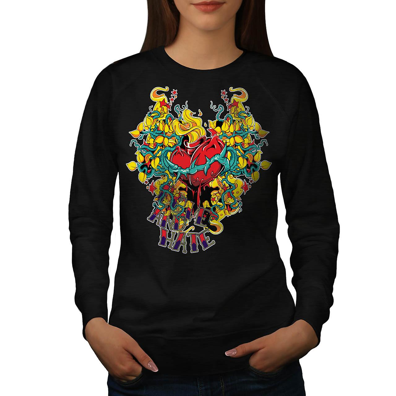 Love And Hate Heart Beat Life Women Black Sweatshirt | Wellcoda