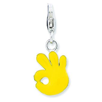 Sterling Silver Enameled A-ok Sign With Lobster Clasp Charm - 1.2 Grams