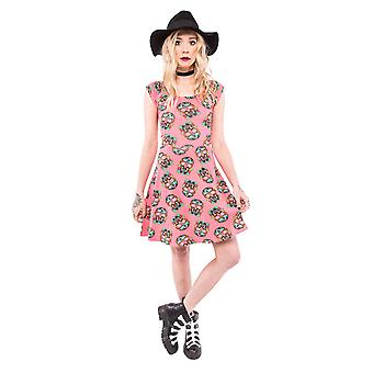 Iron Fist Womens Sugar Sugar Dress Coral Red Skater Sugar Skull Day Of The Dead