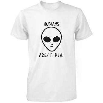 Humans Aren't Real Alien Men's Funny T Shirt Humorous Tee Cute Graphic Tshirt Funny Shirt