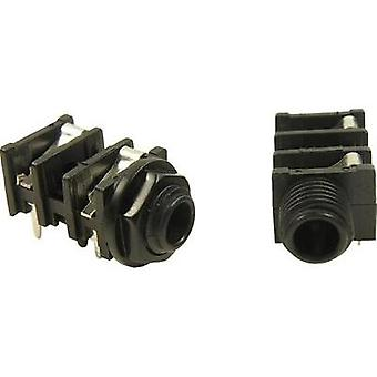 6.35 mm audio jack Socket, horizontal mount Number of pins: 3 Stereo Black Cliff 1 pc(s)