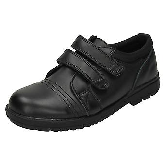 Boys JCDees Flat Two Velcro Strap School Shoes