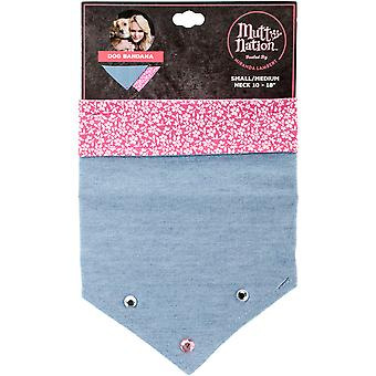 Miranda Lambert's Mutt Nation Dog Bandana Small-Denim/Pink With Rhinestones FP8808ST