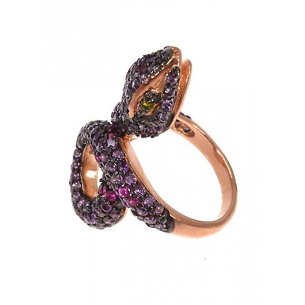W.A.T Sterling Silver Gold Plated CZ Purple Crystal Snake Ring