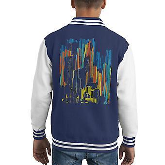 Gestreifte Stadt Grafik Kid Varsity Jacket