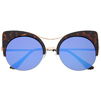 Womens Oversized Half Frame Semi-Rimless Flat Lens Round Cat Eye Sunglasses 60mm