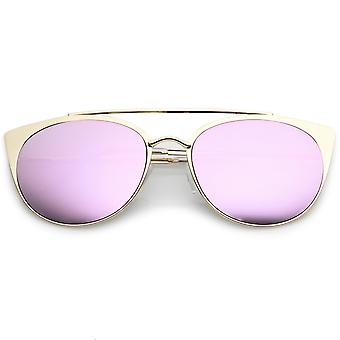 Premium Oversize Metal Cat Eye Sunglasses With Crossbar And Colored Mirror Flat Lens 58mm
