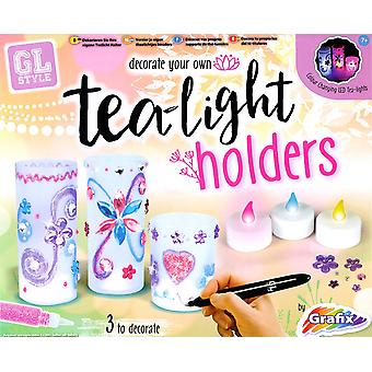Grafix GL Style Decorate Your Own Tea Light Candle Holders Kids Creative Crafts