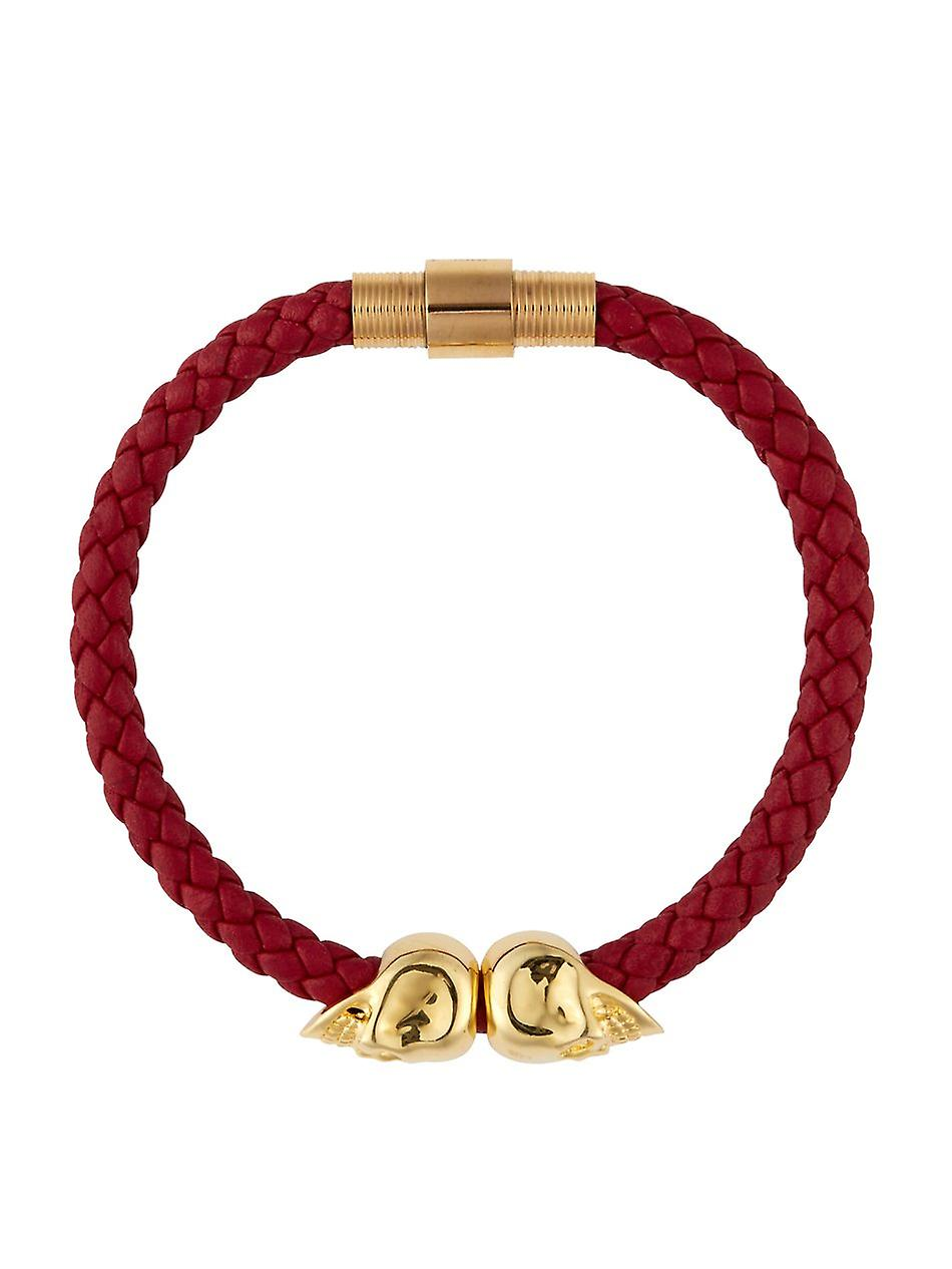 NORTHSKULL DEEP RED NAPPA LEATHER/ 18KT. GOLD TWIN SKULL BRACELET MADE WITH 18KT. GOLD