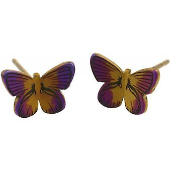 Ti2 Titanium Woodland Small Butterfly Stud Earrings - Brown
