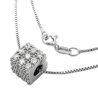 Silver Venetian chain cubic zirconia cube pendant on rhodium plated 925 42 cm silver