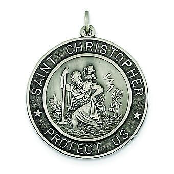 Argent sterling massif satiné Engravable Antique finish St. Christopher médaille charme - 9,7 grammes