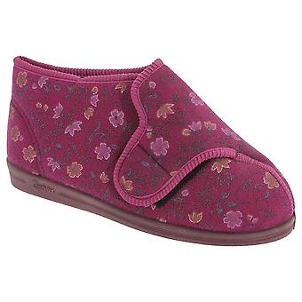 Comfylux Womens/Ladies Betty Superwide Floral Bootee Slippers