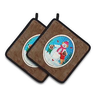 Snowman with Pug Winter Snowman Pair of Pot Holders