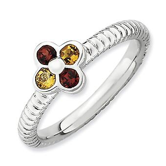 2.25mm Sterling Silver Stackable Expressions Garnet and Citrine Flower Ring - Ring Size: 5 to 10