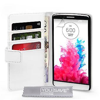 Yousave tilbehør LG G3 læder-effekt tegnebog sag - hvid