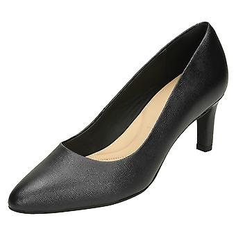 Ladies Clarks Textured Court Shoes Calla Rose - Black Leather - UK Size 5E - EU Size 38 - US Size 7.5W