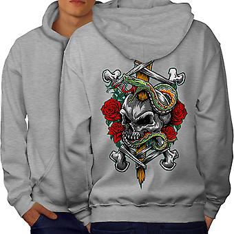 Biker Rock Art Skull Men GreyHoodie Back | Wellcoda