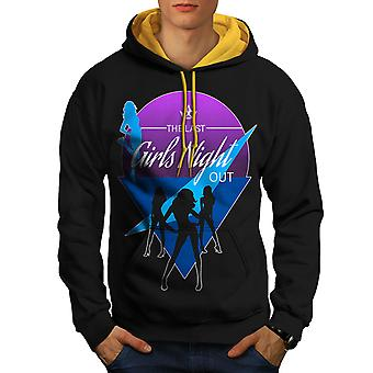 Meisjes Night out mannen zwart (goud kap) contrast hoodie | Wellcoda