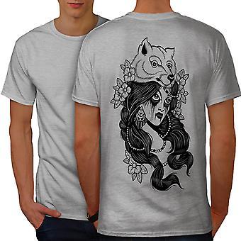 Tribe Girl Wolf Fashion Men GreyT-shirt Back | Wellcoda