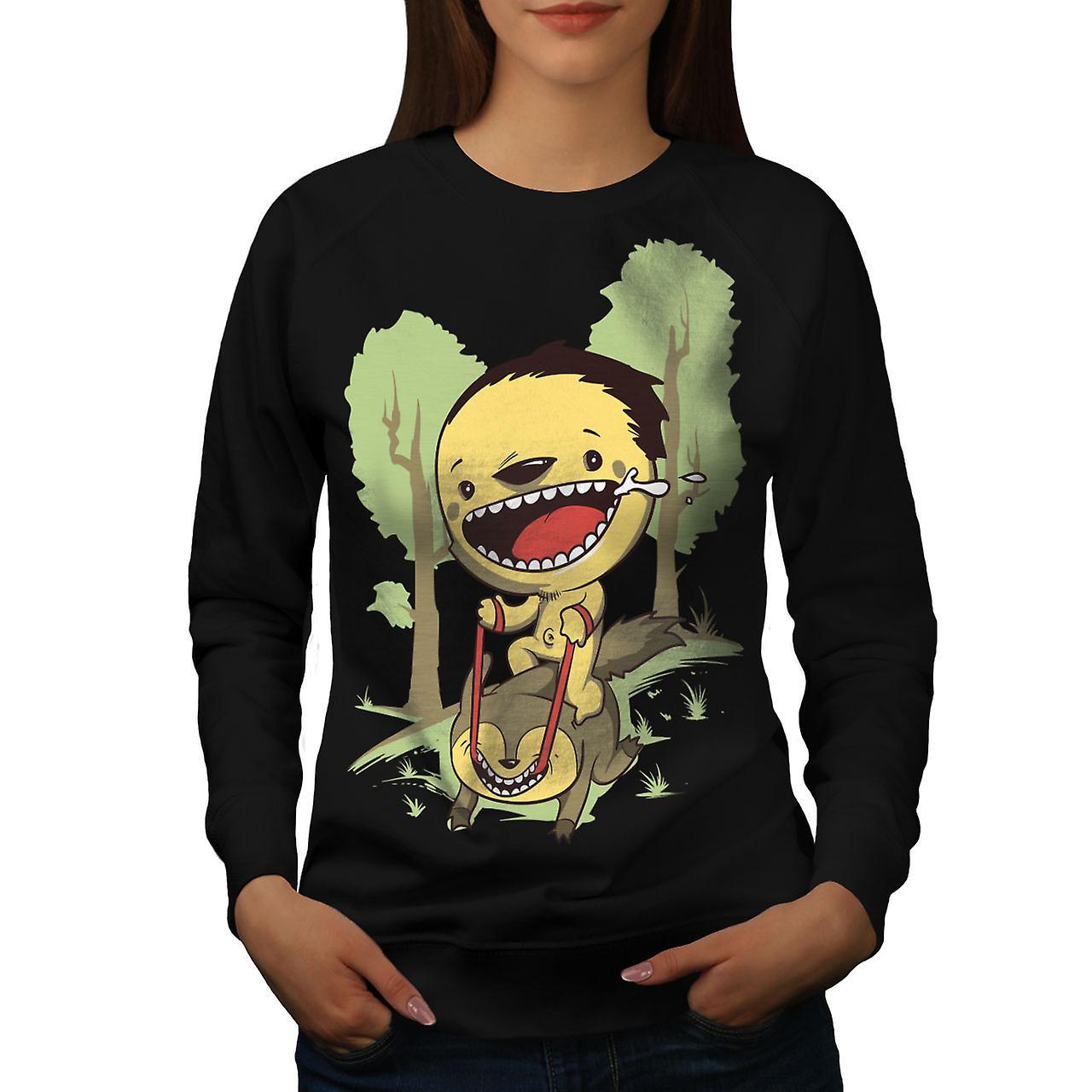 Dessin animé mignon forêt femmes noirSweatshirt
