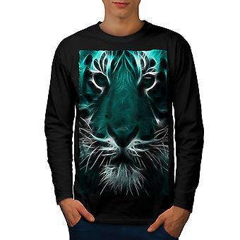 Tiger ansigt vilde dyrs mænd BlackLong ærmet T-shirt | Wellcoda