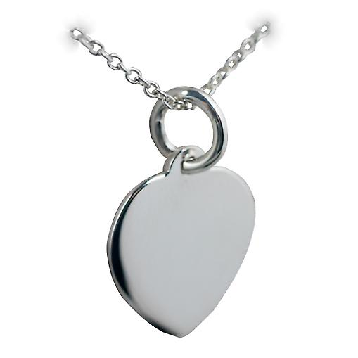 Silver 16x14mm plain heart Disc with a rolo Chain 14 inches Only Suitable for Children