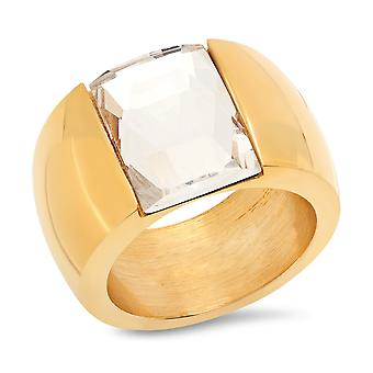 Ladies 18K gull belagt stål Crystal Band Ring