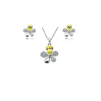 Yellow Crystal Stones Flower Petal Leaf Earrings and Necklace Set