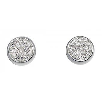 Elements Silver Pave Round Disc Stud Earrings - Silver/Clear